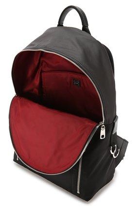 Текстильный рюкзак с нашивками и внешним карманом на молнии Dolce & Gabbana черный | Фото №4
