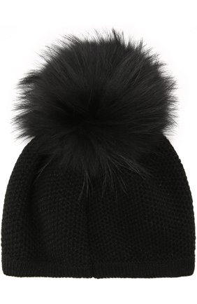 Шапка фактурной вязки с меховым помпоном Inverni черного цвета   Фото №1