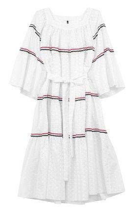 Хлопковое платье-макси с поясом | Фото №1