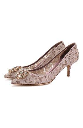 Женская текстильные туфли rainbow lace DOLCE & GABBANA розового цвета, арт. 0112/CD0066/AL198   Фото 1