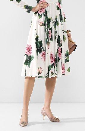 Женская текстильные туфли rainbow lace DOLCE & GABBANA розового цвета, арт. 0112/CD0066/AL198   Фото 2