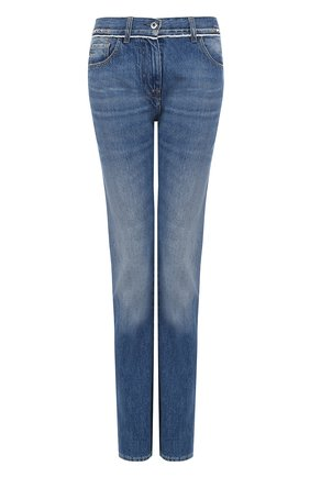 Женские джинсы прямого кроя с потертостями VALENTINO голубого цвета, арт. MB3DE00T/48G | Фото 1
