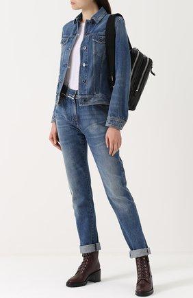Женские джинсы прямого кроя с потертостями VALENTINO голубого цвета, арт. MB3DE00T/48G | Фото 2