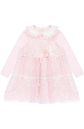Хлопковое платье с кружевной отделкой и декором | Фото №1