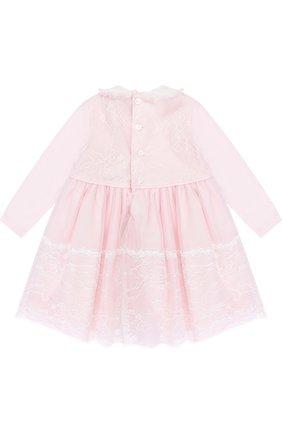Хлопковое платье с кружевной отделкой и декором | Фото №2