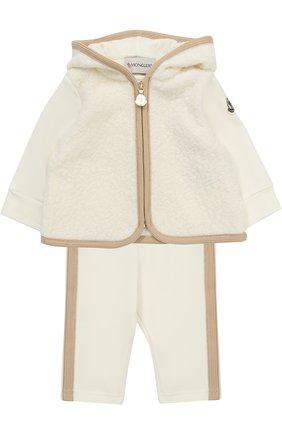 Детский спортивный костюм из хлопка с отделкой из овечьей шерсти MONCLER ENFANT белого цвета, арт. C2-951-88556-05-80996 | Фото 1