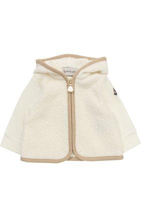 Детский спортивный костюм из хлопка с отделкой из овечьей шерсти MONCLER ENFANT белого цвета, арт. C2-951-88556-05-80996 | Фото 2