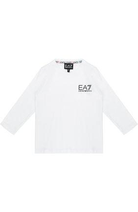 Детская хлопковый лонгслив с логотипом бренда EA 7 белого цвета, арт. 6YBT52/BJ02Z   Фото 1