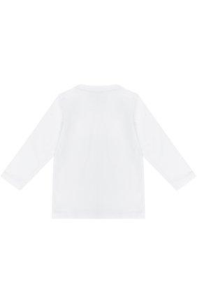 Детская хлопковый лонгслив с логотипом бренда EA 7 белого цвета, арт. 6YBT52/BJ02Z   Фото 2