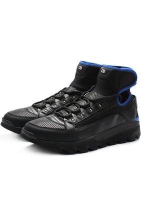 Кожаные кроссовки с текстильной отделкой Dior черные | Фото №1