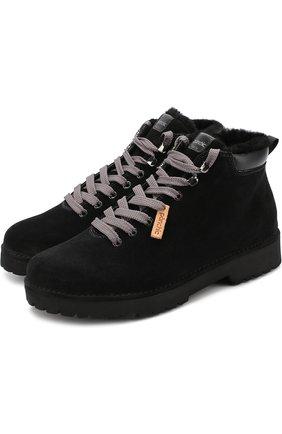 Замшевые ботинки на контрастной шнуровке Panchic темно-синие   Фото №1