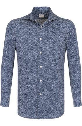 Хлопковая рубашка с принтом Bagutta синяя | Фото №1