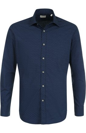 Хлопковая рубашка с принтом Bagutta темно-синяя | Фото №1