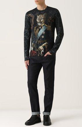 Хлопковый лонгслив с принтом Dolce & Gabbana черная   Фото №2
