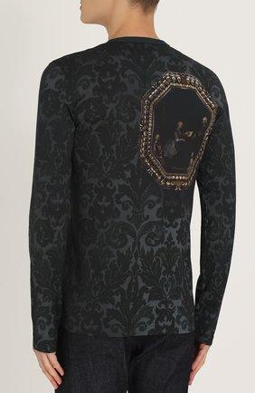 Хлопковый лонгслив с принтом Dolce & Gabbana черная   Фото №4