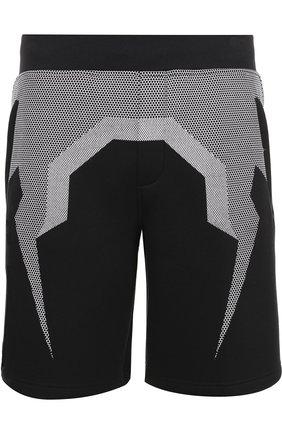 Хлопковые шорты с принтом BLACKBARRETT черные | Фото №1