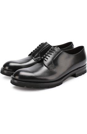 Классические кожаные дерби Fratelli Rossetti черные | Фото №1