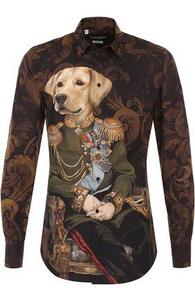 Хлопковая рубашка с принтом Dolce & Gabbana коричневая | Фото №1