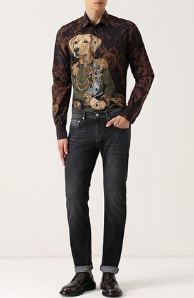 Хлопковая рубашка с принтом Dolce & Gabbana коричневая | Фото №2