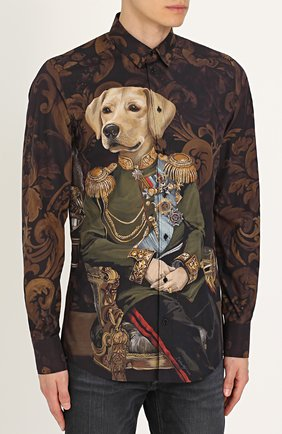 Хлопковая рубашка с принтом Dolce & Gabbana коричневая | Фото №3