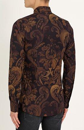 Хлопковая рубашка с принтом Dolce & Gabbana коричневая | Фото №4