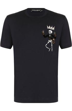 Хлопковая футболка с нашивками Dolce & Gabbana синяя   Фото №1