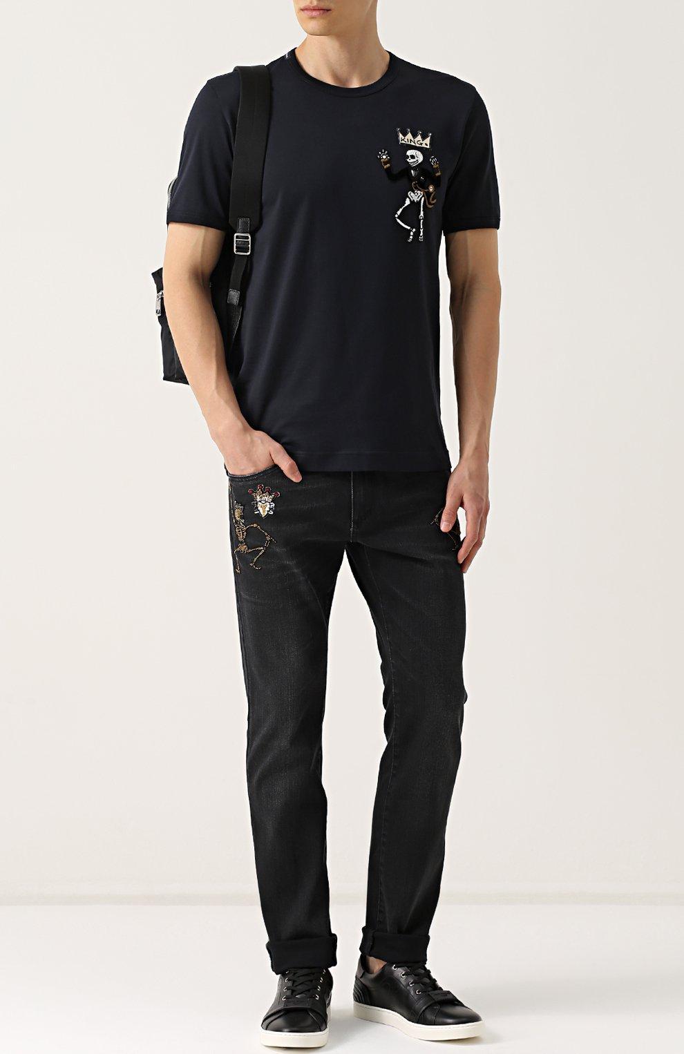 Хлопковая футболка с нашивками Dolce & Gabbana синяя   Фото №2