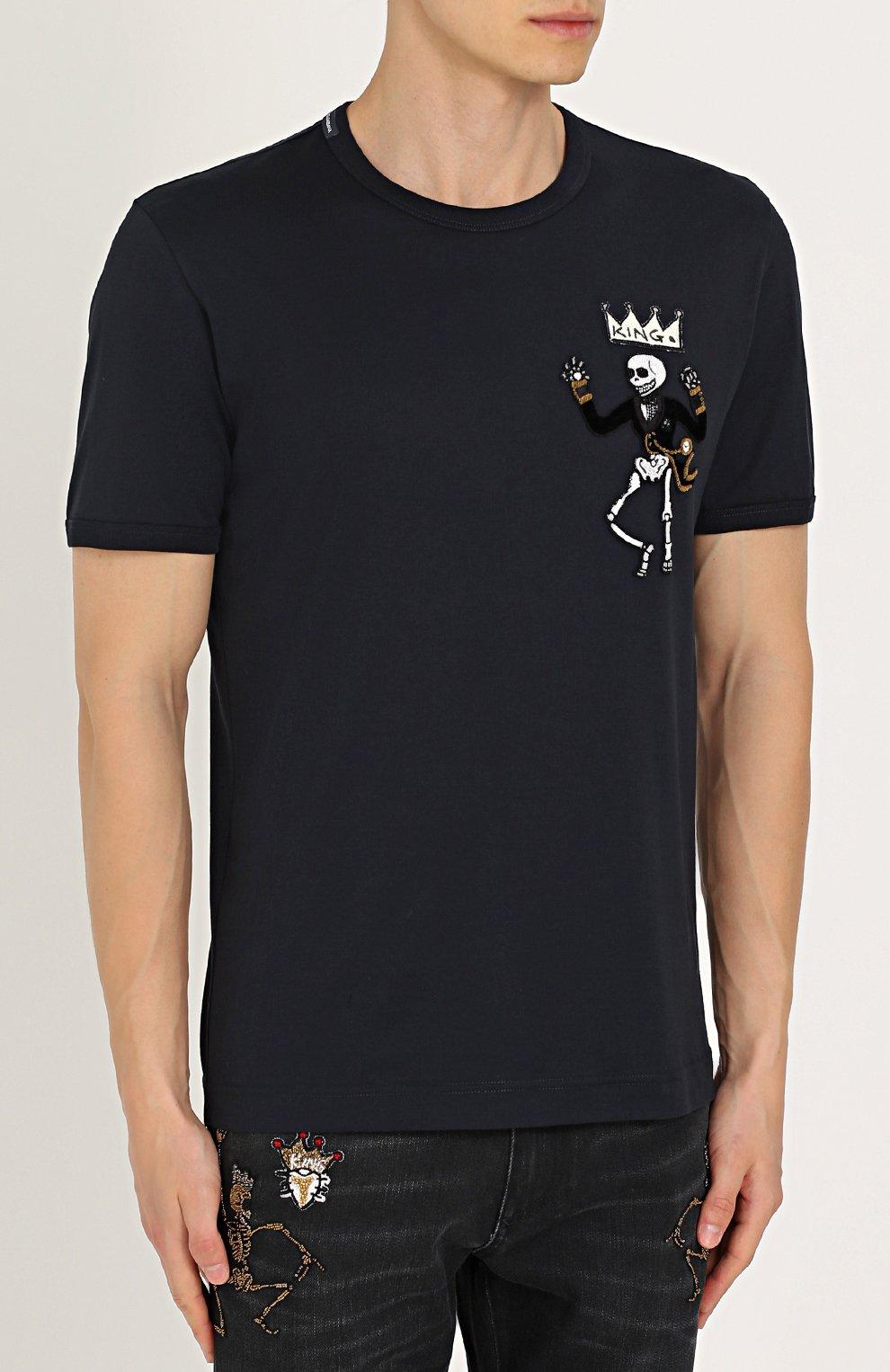 Хлопковая футболка с нашивками Dolce & Gabbana синяя   Фото №3
