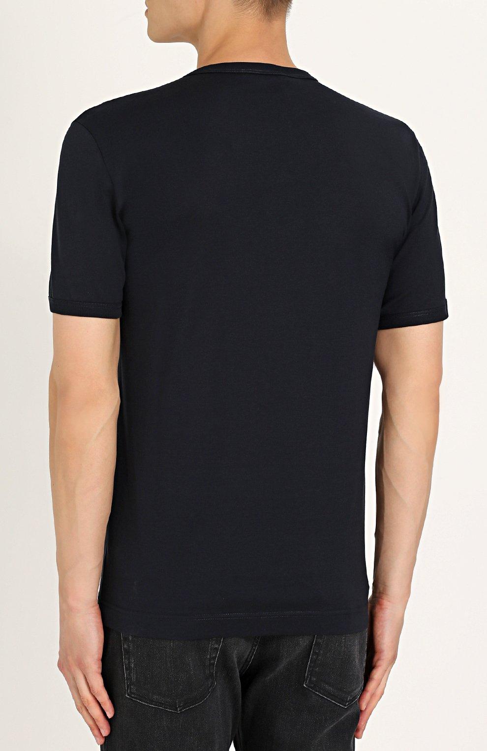 Хлопковая футболка с нашивками Dolce & Gabbana синяя   Фото №4
