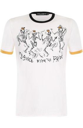 Хлопковая футболка с принтом Dolce & Gabbana белая | Фото №1