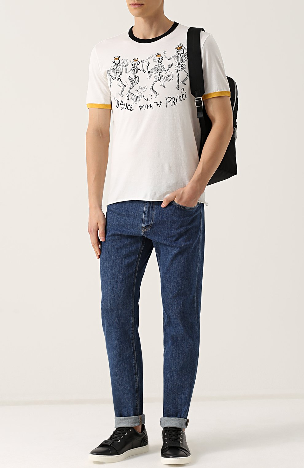 Хлопковая футболка с принтом Dolce & Gabbana белая | Фото №2
