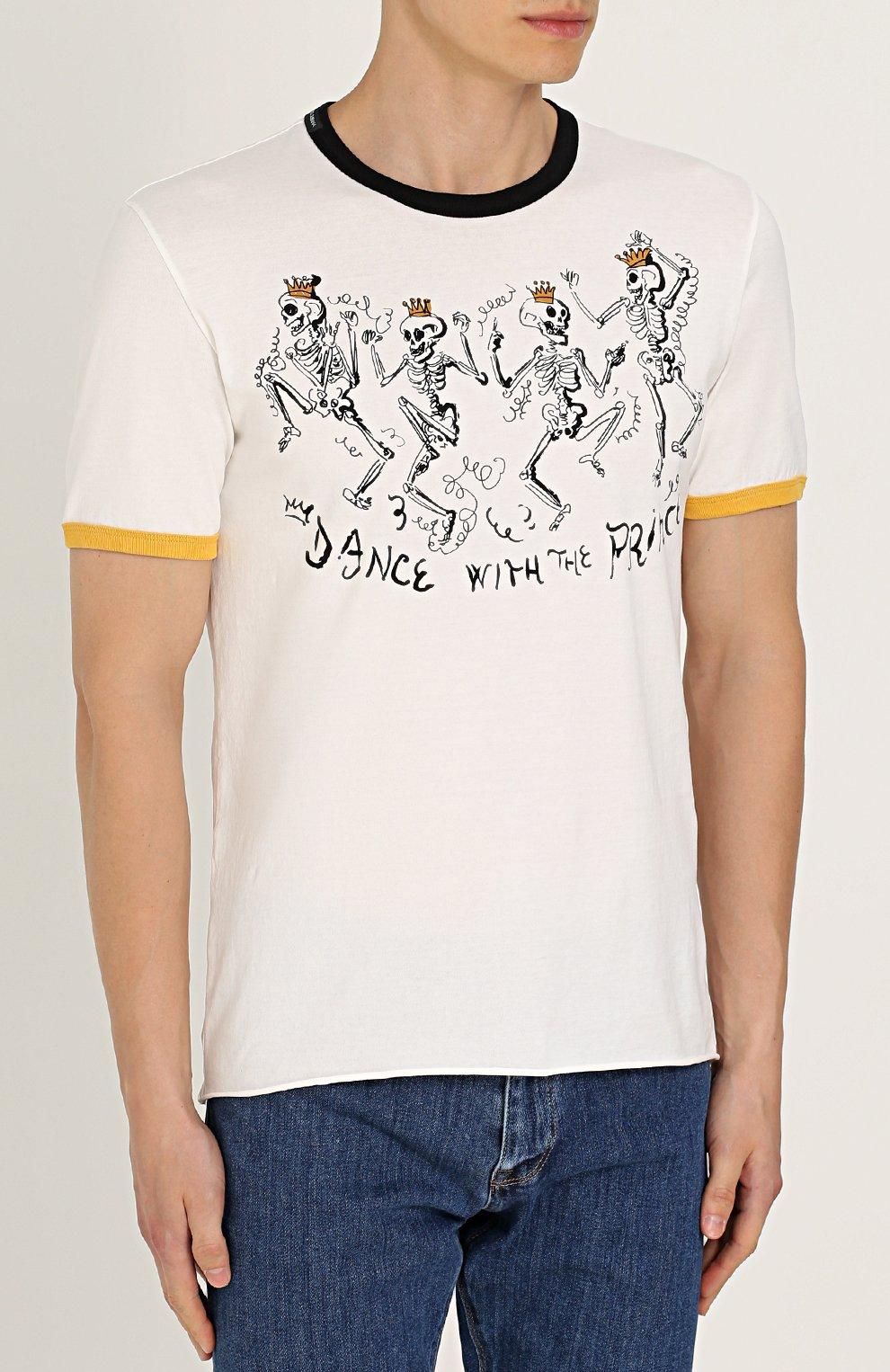 Хлопковая футболка с принтом Dolce & Gabbana белая | Фото №3