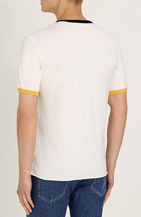 Хлопковая футболка с принтом Dolce & Gabbana белая | Фото №4