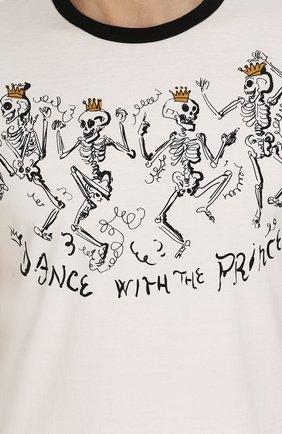 Хлопковая футболка с принтом Dolce & Gabbana белая | Фото №5