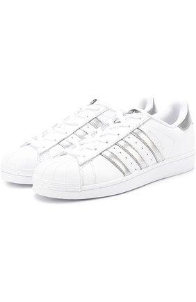Кожаные кроссовки Superstar на шнуровке | Фото №1