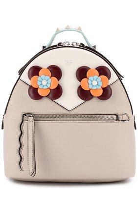 Кожаный рюкзак с цветочной аппликацией | Фото №1