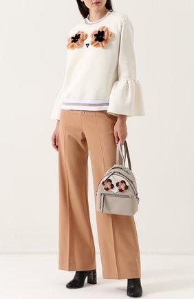 Кожаный рюкзак с цветочной аппликацией | Фото №2