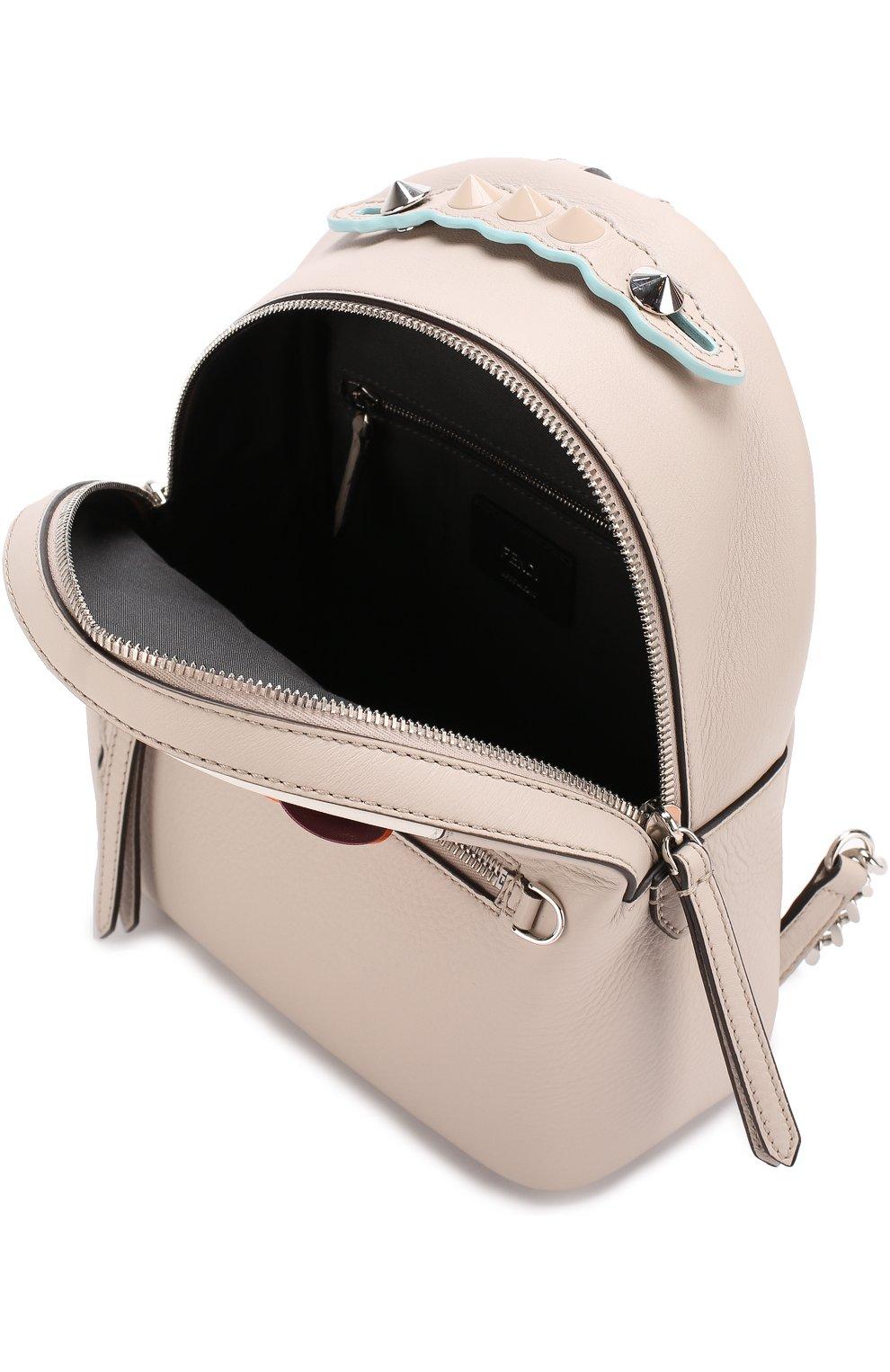 Кожаный рюкзак с цветочной аппликацией | Фото №4
