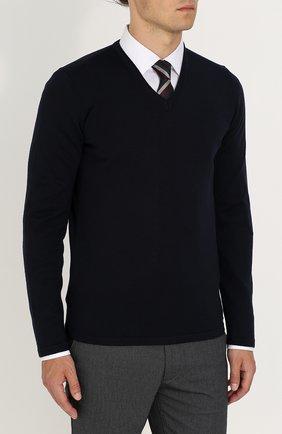 Шерстяной однотонный пуловер | Фото №3