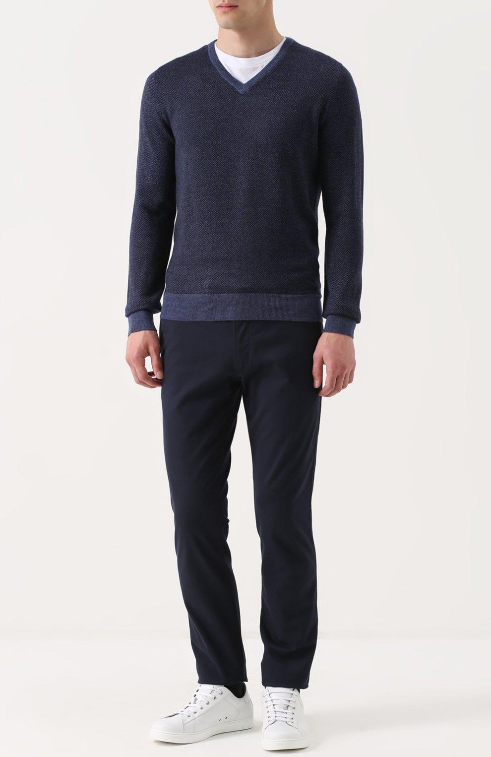 Шерстяной пуловер с V-образным вырезом | Фото №2