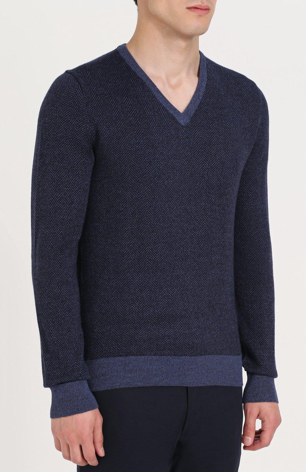 Шерстяной пуловер с V-образным вырезом | Фото №3