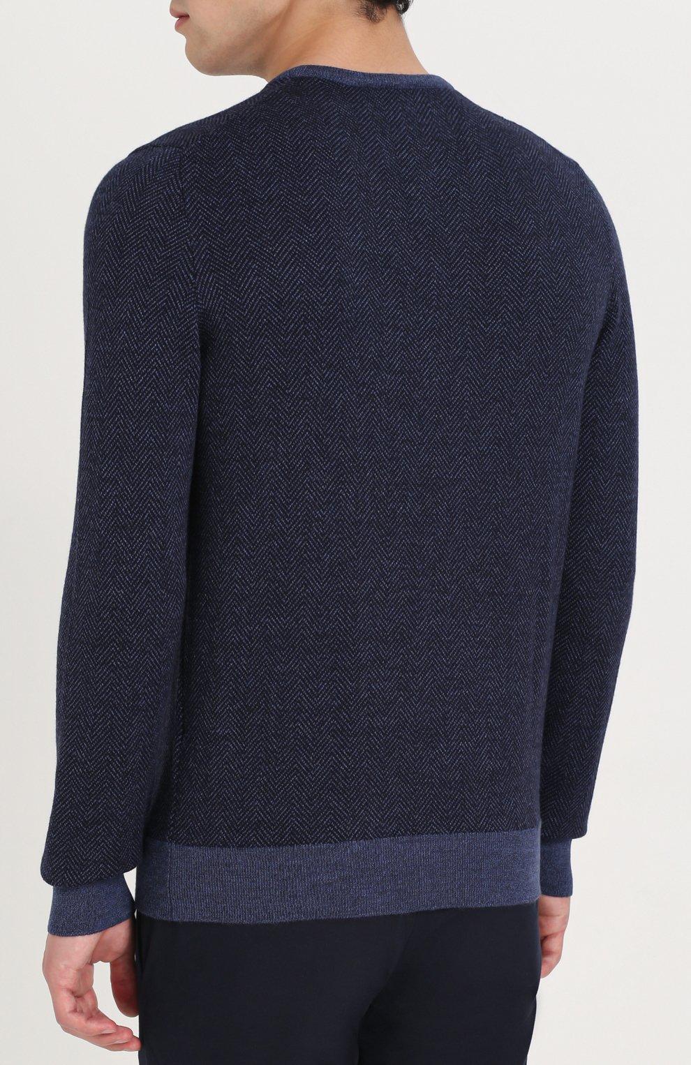 Шерстяной пуловер с V-образным вырезом | Фото №4