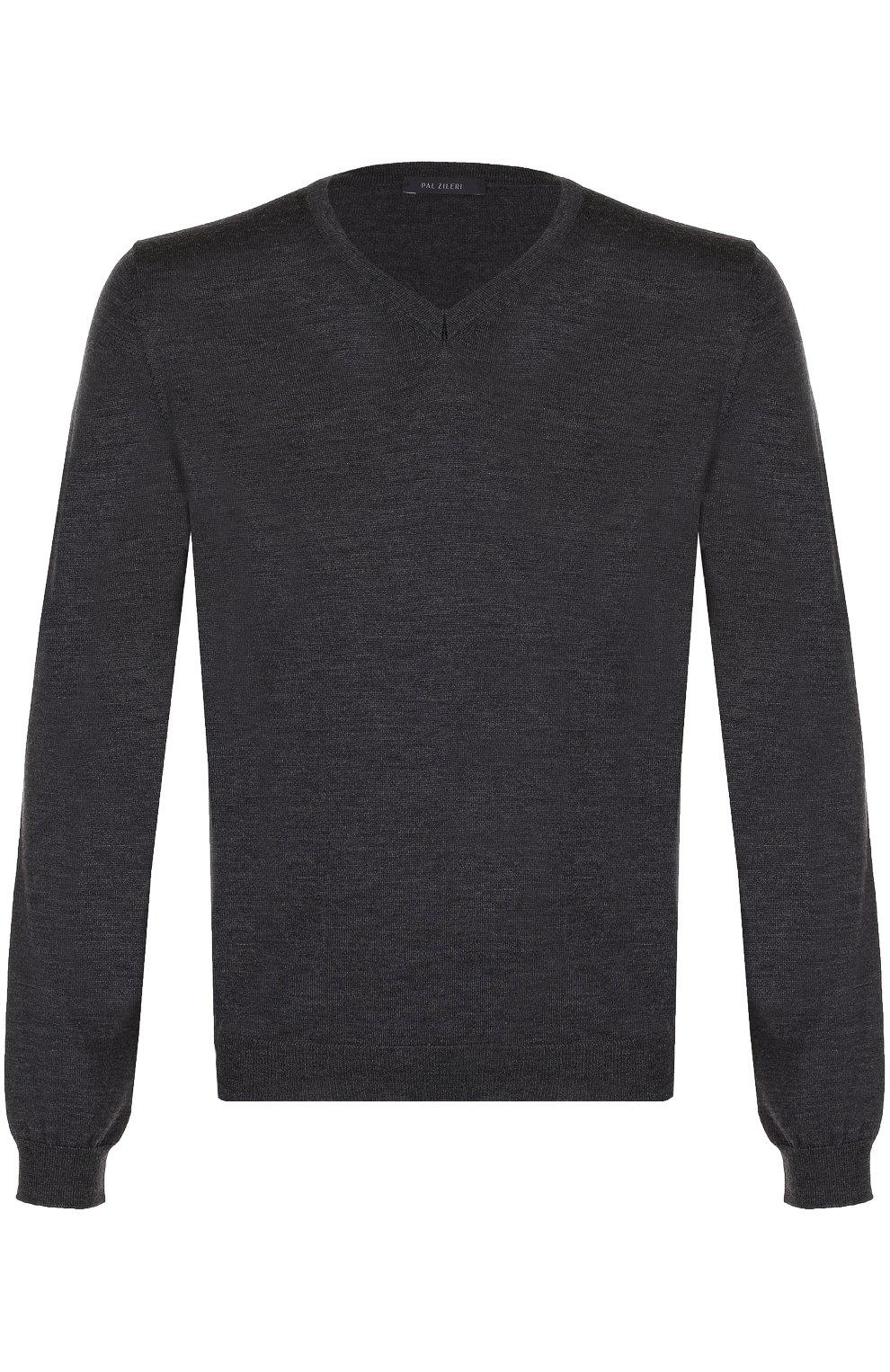 Шерстяной однотонный пуловер | Фото №1