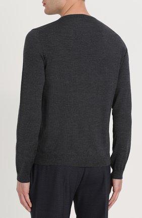 Шерстяной однотонный пуловер | Фото №4