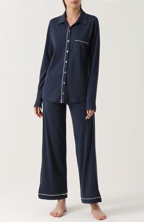 Хлопковая пижама с контрастной отделкой Skin синяя | Фото №1