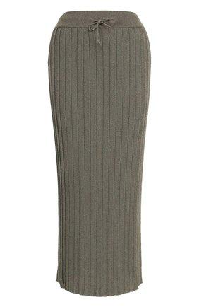 Вязаная плиссированная юбка-миди | Фото №1