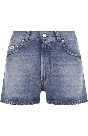 Джинсовые мини-шорты с потертостями Alexachung синие   Фото №1