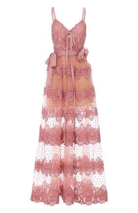 Платье-миди с кружевной отделкой и брошью | Фото №1