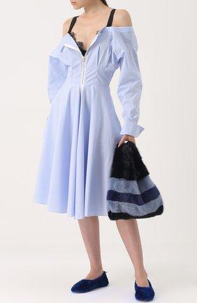 Приталенное хлопковое платье в полоску Natasha Zinko голубое   Фото №1