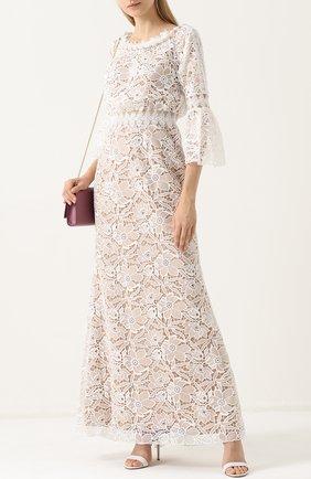 Приталенное кружевное платье-макси Tadashi Shoji светло-бежевое | Фото №1